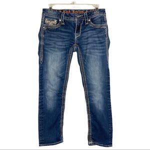 Rock Revival Sorrel Capri Jeans Fleur de Lis Sz 27